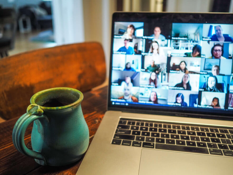 A productive zoom call with remote employees WFH